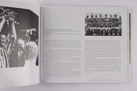 Kilkenny-All-Ireland Hurling Champions 1974. Back Row: Mick Brennan, Tom McCormack, Eddie Keher, Frank Cummins, Mick Crotty, Pat Henderson, Fan Larkin. Front Row: Pat Lalor, Liam O'Brien, Noel Skehan, Nicky Orr (capt), Jim Treacy, Kieran Purcell, Pat Delaney.