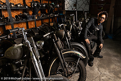 Tatsutya Fujii with a lineup of Harley-Davidson Knuckleheads ready to be worked on in his Duas Caras Cycles in Nagoya, Japan. Wednesday, December 5, 2018. Photography ©2018 Michael Lichter.