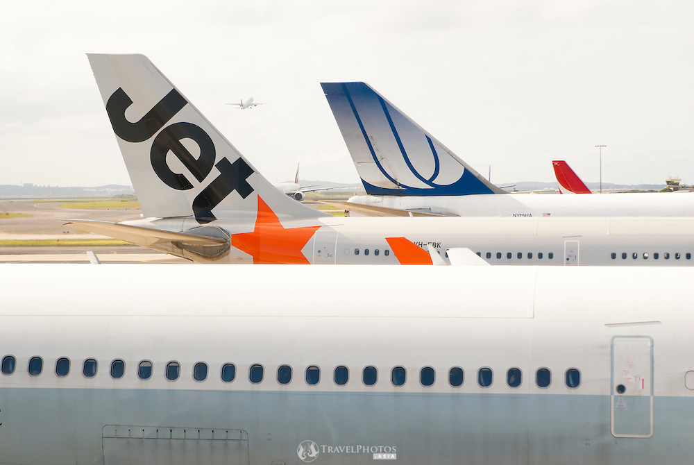 A Jet Star and United Airlines aircrafts at Sydney's Charles Kingford Smith International Airport.