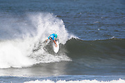 Santiago Muniz of Argentina advances to round two after placing first in round one heat 6 of the 2018 Hawaiian Pro at Haleiwa, Oahu, Hawaii, USA.