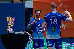 Dennis Borst of Lycurgus, Luke Herr of Lycurgus celebrate after the cup final between Amysoft Lycurgus vs. Draisma Dynamo on April 18, 2021 in sports hall Alfa College in Groningen