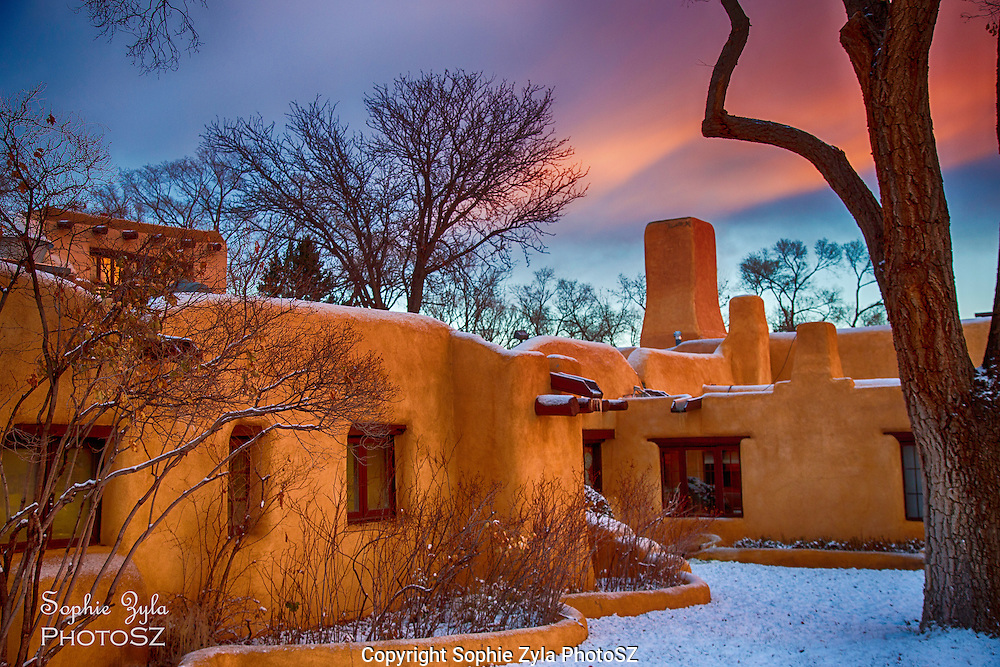 A dusting of snow on Sage Brush Inn in New Mexico