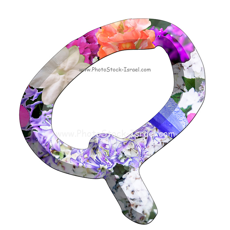 The Capitol Letter Q Part of a set of letters, Numbers and symbols of 3D Alphabet made with colourful floral images on white background