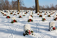 65095-03016 Wreaths on graves in winter Jefferson Barracks National Cemetery St. Louis,  MO