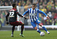 Joe Bennett, Brighton defender during the Sky Bet Championship match between Brighton and Hove Albion and Norwich City at the American Express Community Stadium, Brighton and Hove, England on 3 April 2015.