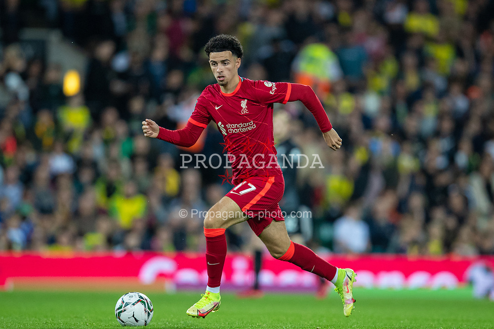 NORWICH, ENGLAND - Tuesday, September 21, 2021: Liverpool's Curtis Jones during the Football League Cup 3rd Round match between Norwich City FC and Liverpool FC at Carrow Road. Liverpool won 3-0. (Pic by David Rawcliffe/Propaganda)