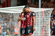AFC Bournemouth Players Celebrate after AFC Bournemouth Forward, Josh King (17) scores a penalty to make it 3-0 with AFC Bournemouth Forward, Callum Wilson (13) during the Premier League match between Bournemouth and Leicester City at the Vitality Stadium, Bournemouth, England on 15 September 2018.