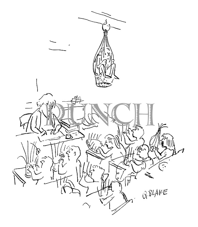 (A classroom full of children is engaged in making hanging baskets for plants. One little troublemaker has been stashed in one of them and hung from the ceiling)