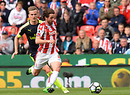 Joe Allen of Stoke city in action. Premier league match, Stoke City v Arsenal at the Bet365 Stadium in Stoke on Trent, Staffs on Saturday 13th May 2017.<br /> pic by Bradley Collyer, Andrew Orchard sports photography.