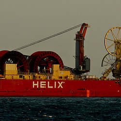 Helix Energy Solutions, Express support vessel works at the BP Plc Macondo well site in the Gulf of Mexico off the coast of Louisiana, U.S., on Friday, July 30, 2010. BP Plc continues to work on a relief well to permanently plug the source of the largest oil spill in U.S. history.  Photographer: Derick E. Hingle/Bloomberg