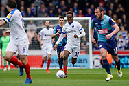 Jamal Lowe of Portsmouth on the attack during the EFL Sky Bet League 1 match between Wycombe Wanderers and Portsmouth at Adams Park, High Wycombe, England on 6 April 2019.