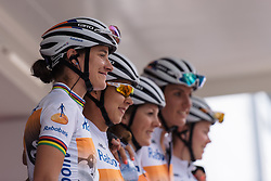 Marianne Vos and her Rabo Liv teammates are presented to the crowds in Sittard at Boels Hills Classic 2016. A 131km road race from Sittard to Berg en Terblijt, Netherlands on 27th May 2016.
