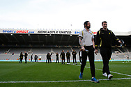 Burton Albion defender John Brayford (3) and Burton Albion defender Ben Turner (6) take a walk across the pitch after arriving at St James's Park during the EFL Sky Bet Championship match between Newcastle United and Burton Albion at St. James's Park, Newcastle, England on 5 April 2017. Photo by Richard Holmes.
