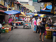 07 OCTOBER 2014 - GEORGE TOWN, PENANG, MALAYSIA: A market in George Town (also Georgetown), the capital of the state of Penang in Malaysia. Named after Britain's King George III, George Town is located on the north-east corner of Penang Island. The inner city has a population of 720,202 and the metropolitan area known as George Town Conurbation which consists of Penang Island, Seberang Prai, Kulim and Sungai Petani has a combined population of 2,292,394, making it the second largest metropolitan area in Malaysia. The inner city of George Town is a UNESCO World Heritage Site and one of the most popular international tourist destinations in Malaysia.         PHOTO BY JACK KURTZ