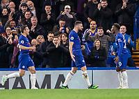 Football - 2018 / 2019 Premier League - Chelsea vs. Brighton & Hove Albion<br /> <br /> Oliver Giroud (Chelsea FC)  congratulates Callum Hudson-Odoi (Chelsea FC) after scoring from his assist at Stamford Bridge <br /> <br /> COLORSPORT/DANIEL BEARHAM