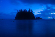 A sea stack at twilight, Second Beach, Olympic National Park, Washington.