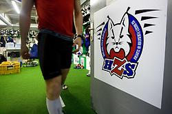 Logo of Slovenian Ice Hockey National team during the IIHF World Championship Division 1 Group B tournament, on April 21, 2010, in Hala Tivoli, Ljubljana, Slovenia.  (Photo by Vid Ponikvar / Sportida)