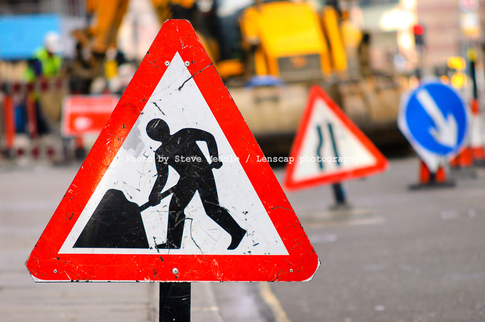 Various Road Works signs due to repairs to carriageway, London, England - 21 April 2007