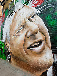 """© Licensed to London News Pictures. 06/05/2019. London, UK.  A new David Attenborough Mural painted on the side of a house in St Matthew's Row, east London.  The mural by urban artist, Jerome shows natural historian, David Attenborough with a message, """"There is no question climate change is happening. The only arguable point is what part humans are playing in it"""". Photo credit: Vickie Flores/LNP"""