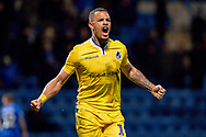 Bristol Rovers forward Jonson Clarke-Harris (19) celebrates after the final whistle during the EFL Sky Bet League 1 match between Gillingham and Bristol Rovers at the MEMS Priestfield Stadium, Gillingham, England on 12 March 2019.