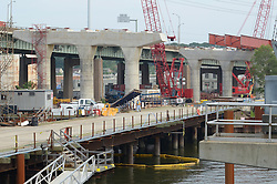East End of Project, Southbound Approaches, New Pearl Harbor Memorial Bridge under Construction at New Haven Harbor Crossing, Connectictut. CONNDOT Contract B, Project #92-618. When complete the alternately named Quinnipiac River Bridge will be first Extradosed Engineered & Designed Bridge in the United States.