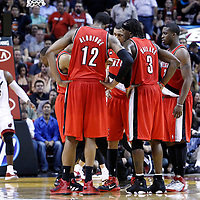 08 March 2011: The Blazers gather during the Portland Trail Blazers 105-96 victory over the Miami Heat at the AmericanAirlines Arena, Miami, Florida, USA.