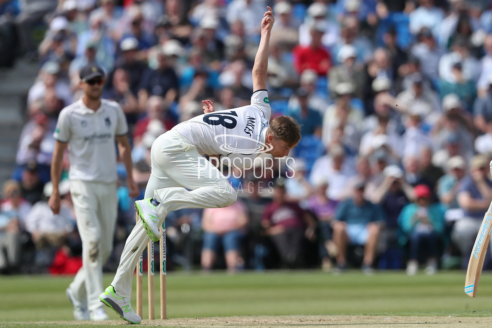 Craig Miles of Warwickshire bowling during the Specsavers County Champ Div 1 match between Yorkshire County Cricket Club and Warwickshire County Cricket Club at York Cricket Club, York, United Kingdom on 18 June 2019.