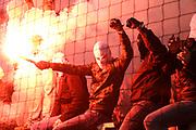 Fuusball: 2. Bundesliga, FC St. Pauli - Hamburger SV 2:0, Hamburg, 16.09.2019<br /> Pyrotechnik St. Pauli-Fans<br /> © Torsten Helmke
