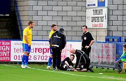 The fourth official is injured - Photo mandatory by-line: Neil Brookman/JMP - Mobile: 07966 386802 - 01/11/2014 - SPORT - Football - Telford - New Bucks Head Stadium - AFC Telford v Bristol Rovers - Vanarama Football Conference