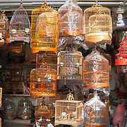 Caged birds for sale at Hong Kong bird market.