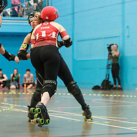 Liverpool Roller Birds Yellow Shovemarines take on Birmingham Blitz Dames Bomb Squad in the Final of the Bouddica Cup 2019 at the University of Salford Sports Centre, Salford, UK 2019-08-03