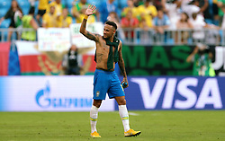 Brazil's Neymar celebrates victory after the final whistle