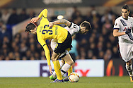 Ryan Mason of Tottenham Hotspur and Julian Weigl of Borussia Dortmund competing for the ball. UEFA Europa League round of 16, 2nd leg match, Tottenham Hotspur v Borussia Dortmund at White Hart Lane in London on Thursday 17th March 2016<br /> pic by John Patrick Fletcher, Andrew Orchard sports photography.