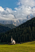 Dramatic image of St. Johann Church in St. Madgalena, Italy.