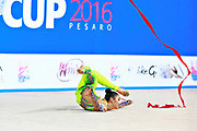 Hayakawa Sakura during qualifying at ribbon in Pesaro World Cup 2 April, 2016. Sakura is a Japan rhythmic gymnastics athlete born March 17, 1997 in Osaka, Japan. She appeared in Senior competitions in the 2013 season.
