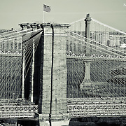 View of the Brooklyn Bridge via helicopter