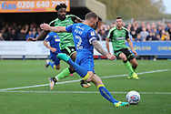AFC Wimbledon defender Barry Fuller (2) crossing the ball during the EFL Sky Bet League 1 match between AFC Wimbledon and Plymouth Argyle at the Cherry Red Records Stadium, Kingston, England on 21 October 2017. Photo by Matthew Redman.