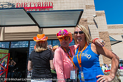 Diva Amy and Sara Shope at Dirtybird Customs for Diva's Helping with Horsepower Ride on Wednesday of Arizona Bike Week 2014. USA. April 3, 2014.  Photography ©2014 Michael Lichter.