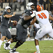 ORLANDO, FL - AUGUST 29: Dillon Gabriel #11 of the UCF Knights attempts a pass during a NCAA football game between the Florida A&M Rattlers and the UCF Knights on August 29 2019 in Orlando, Florida. (Photo by Alex Menendez/Getty Images) *** Local Caption *** Dillon Gabriel