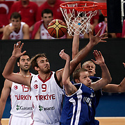 Turkey's Semih Erden  (LC) and Finland's during their Adidas Istanbul Cup 2012 Final basketball match Turkey between Finland at the Abdi I˙pekci Arena in Istanbul Turkey on Thursday 02 August 2012. Photo by TURKPIX