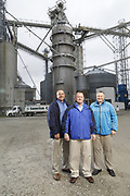 SHOT 10/29/18 9:46:41 AM - Sunrise Cooperative is a leading agricultural and energy cooperative based in Fremont, Ohio with members spanning from the Ohio River to Lake Erie. Sunrise is 100-percent farmer-owned and was formed through the merger of Trupointe Cooperative and Sunrise Cooperative on September 1, 2016. Photographed at the Clyde, Ohio grain elevator was George D. Secor President / CEO and John Lowry<br /> Chairman of the Board of Directors with  CoBank RM Gary Weidenborner. (Photo by Marc Piscotty © 2018)