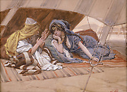 Abram's Counsel to Sarai [book of Genesis], Gouache paint on cardboard by James Tissot  1896-1902