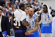 DESCRIZIONE : Beko Legabasket Serie A 2015- 2016 Dinamo Banco di Sardegna Sassari - Manital Auxilium Torino<br /> GIOCATORE : Christian Eyenga David Logan<br /> CATEGORIA : Postgame Ritratto<br /> EVENTO : Beko Legabasket Serie A 2015-2016<br /> GARA : Dinamo Banco di Sardegna Sassari - Manital Auxilium Torino<br /> DATA : 10/04/2016<br /> SPORT : Pallacanestro <br /> AUTORE : Agenzia Ciamillo-Castoria/C.Atzori