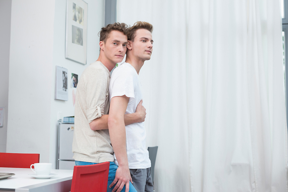 Homosexual couple embracing each other
