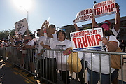 Protestors congregate outside before presidential candidate Donald Trump speaks during a rally at the American Airlines Center in Dallas, Texas on September 14, 2015. (Cooper Neill for The New York Times)