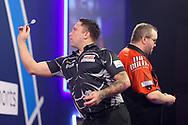 Gerwyn Price during the William Hill World Darts Championship Semi-Finals at Alexandra Palace, London, United Kingdom on 2 January 2021.