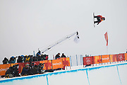 Patrick Burgener, Switzerland, during the Pyeongchang Winter Olympic mens snowboard halfpipe finals on 14th February 2018 at Phoenix Snow Park in South Korea