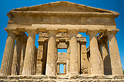 Temple of Concord ( Concordia) front close up view of columns, in the Valley of the Temples, Agrigento, Sicily, Italy