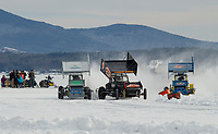 Scott Burns in #55, Mike Frank in #0 and Fabian Smith in #5 race around the oval on Meredith Bay in the Modified Class during the Nostalgic Latchkey Cup Sunday afternoon.  (Karen Bobotas/for the Laconia Daily Sun)