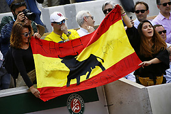 May 29, 2019 - Paris, France - Fans show their support torwards Rafael Nadal of Spain during his mens singles second round match against Yannick Maden of Germany during Day four of the 2019 French Open at Roland Garros on May 29, 2019 in Paris, France. (Credit Image: © Ibrahim Ezzat/NurPhoto via ZUMA Press)
